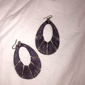 Vintage hand made purple and gold dangly earrings
